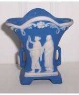 "Wedgewood Blue Jasperware Grecian Ladies Garden 2 3/4"" Vase - $14.00"