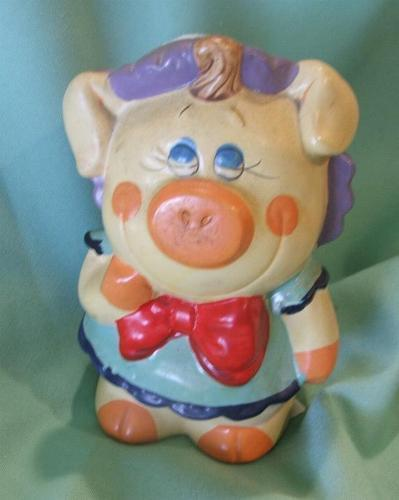 Vintage Mid Century 50s Girl Ceramic Piggy Bank