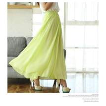 Candy Color Elegant Pleated Women Chiffon Maxi Skirt image 3