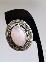 Artisan Rose Pink Quartz oval POST EARRINGS Sterling Silver 925 8.8g  24... - $39.59