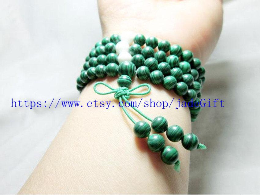 FREE SHIPPING - 6mm prayer green Malachite mala  Natural Malachite Meditation yo - $24.99