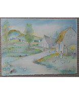 Art Watercolor signed French Countryside - $185.00