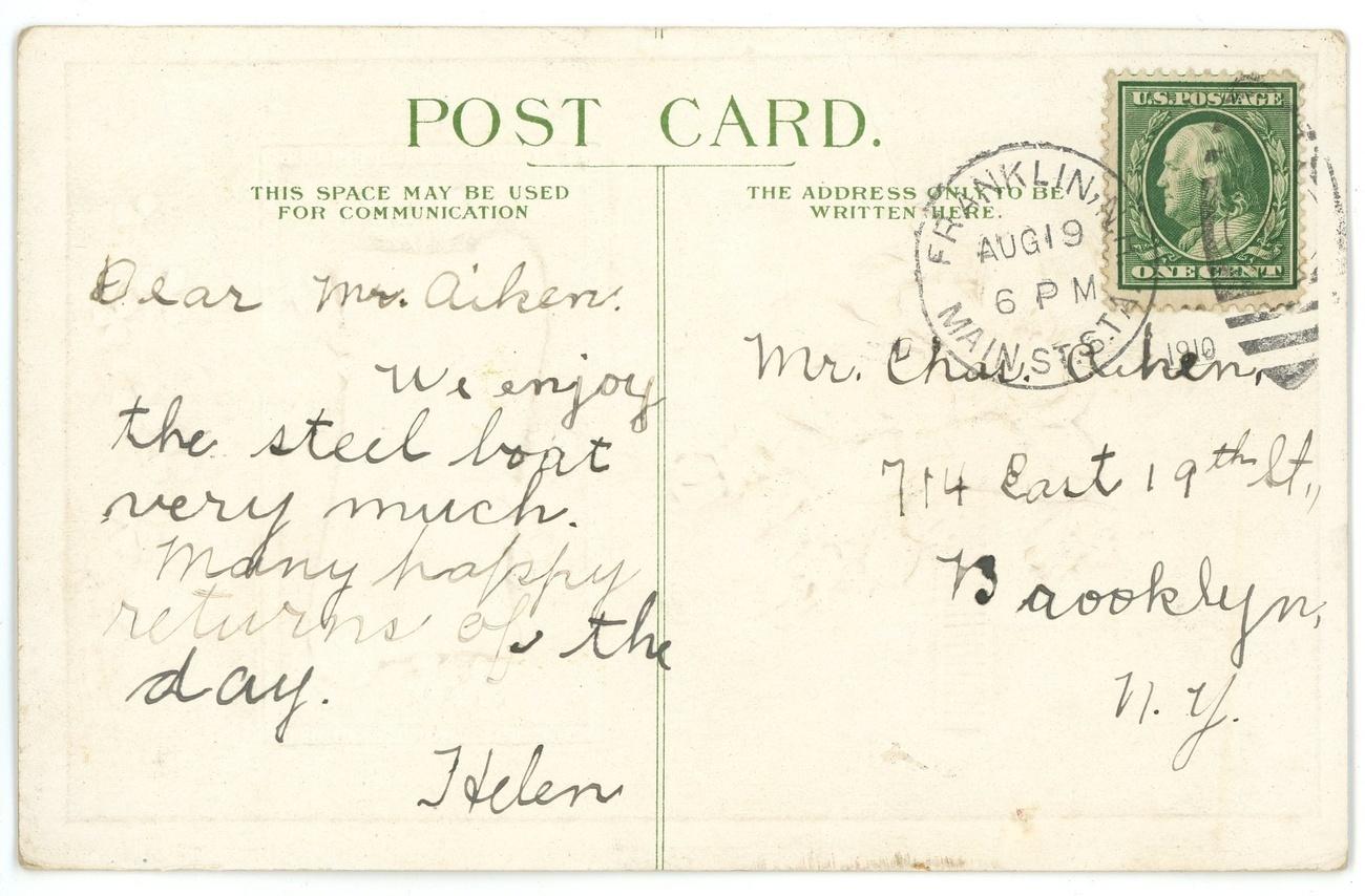 Congratulations vintage greeting postcard violets embossed greeting