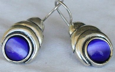 Blue cat eye earrings