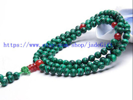 FREE SHIPPING - prayer green Malachite mala  Natural Malachite Meditation yoga 1 - $30.99