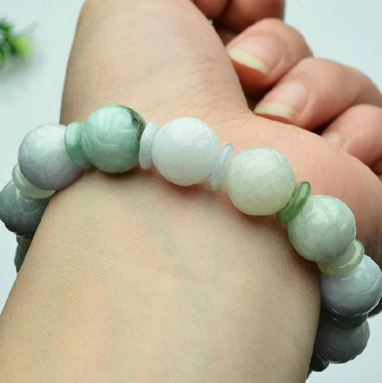 Free Shipping - A cargo of natural jade carved genuine jade bead bracelet beaded
