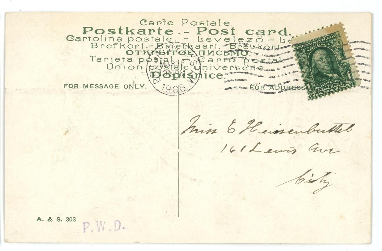 St Patrick's Day vintage postcard harp shamrock embossed gold 1908 Victorian