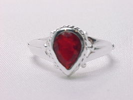 GARNET RING in STERLING Silver by Designer MD - Size 6 - FREE SHIPPING - $48.00