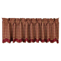 country primitive cabin Tan & Burgundy Check Scalloped Layered VALANCE c... - $31.95