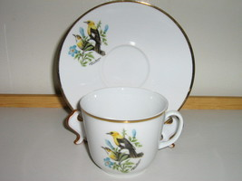 Bareuther Bavarian Bone China Cup & Saucer - Yellow Headed Blackbird - 1... - $20.00