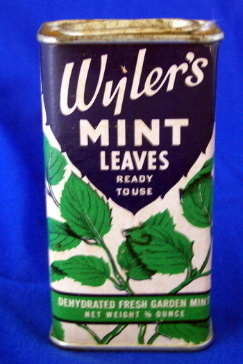 Vintage WYLER'S MINT LEAVES Container Tin Box