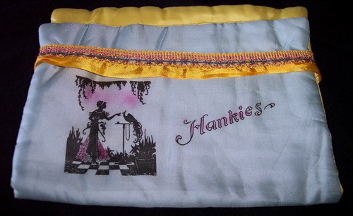 Vintage Handkerchief Holder Hankies Silky Blue Yellow