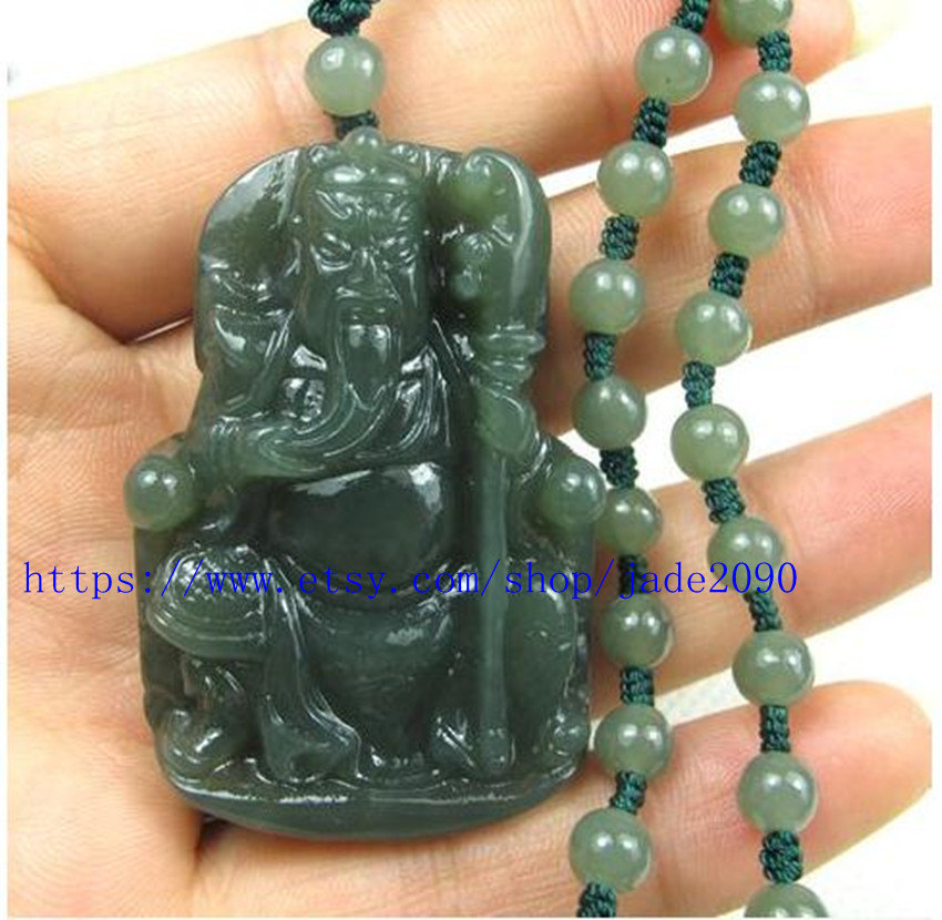 Primary image for Free shipping - NATURAL Green jadeite jade carved ''Guan Yu'' charm beaded fashi
