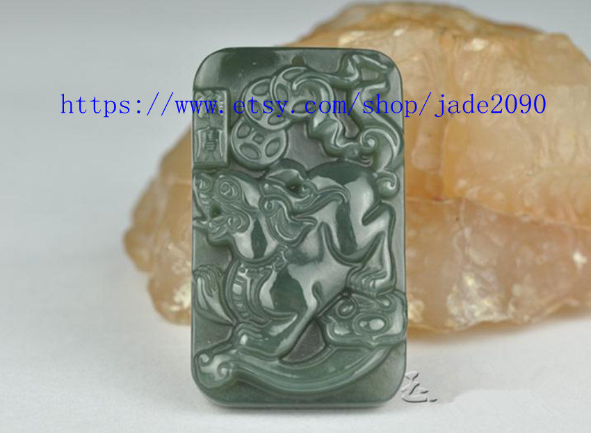 Primary image for Free Shipping - handmade Natural green jadeite jade carved Pi Yao meditation yog