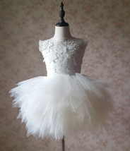 WHITE Lace Tutu High Waist Dress White Knee Length Wedding Flower Girl Dress NWT image 2