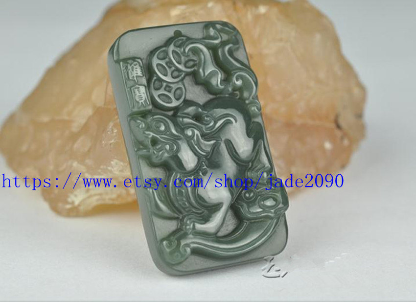Free Shipping - handmade Natural green jadeite jade carved Pi Yao meditation yog