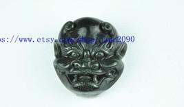 Free Shipping - handmade gift Natural Green jadeite jade carved  demon Belt buck - $26.99