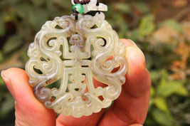 FREE SHIPPING Natural green jade carved Pray for Longevity Health luck charm jad - $19.99