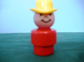 VINTAGE FISHER PRICE LITTLE PEOPLE #192 ALL WOOD RED COWBOY! image 3