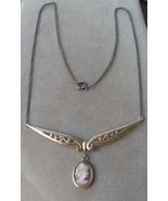 Vintage gf Gold Filled Carved Shell Cameo Necklace - $64.99