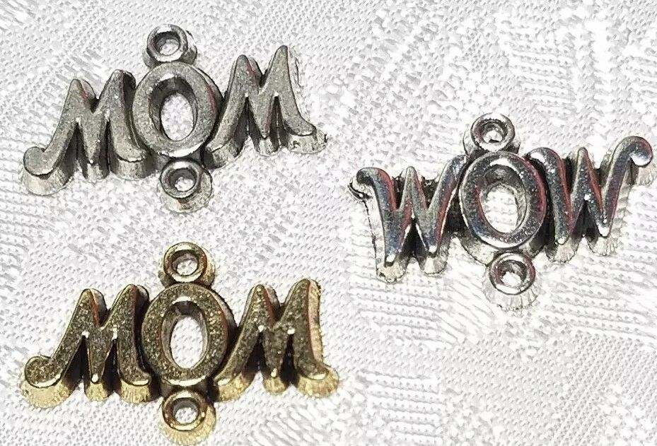 MOM or WOW DOUBLE LOOP FINE PEWTER CONNECTOR CHARM - 20mm L x 14mm W x 2mm D