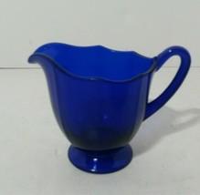 Vintage Cobalt Blue Glass Creamer Pitcher Pedestal Base Scalloped Edge - $18.42