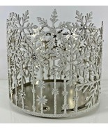 Bath & Body Works Candle Holder Sleeve CHRISTMAS HOLIDAY SNOW SNOWFLAKES GLITTER - $29.69