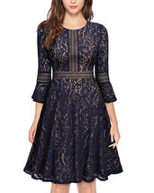 Women's Vintage Full Lace Contrast Flare Sleeve Big Swing A-Line Dress P... - $49.99