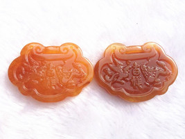 Free Shipping - good luck Natural Red jade Carved Dragon Phoenix Pendant charm / - $19.99
