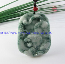 Free Shipping - Hand carved Natural Green jadeite jade carved Tiger charm jade p - $30.00