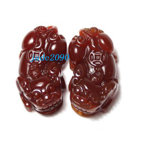 Free Shipping - A pair mythical Animals Natural red jade Carved luck Pi Yao Pend - $25.99