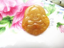 Free shipping - Hand carved  Natural Yellow  jade jadeite Laughing Buddha buddha - $29.99