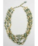 Vintage 60s layered chunky beaded necklace multi-toned grayish blue gold... - $18.40