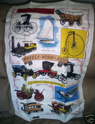 Vintage KAY DEE Linen Towel w Label Old Cars Henry Ford