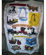 Vintage KAY DEE Linen Towel w Label Old Cars Henry Ford - $14.95