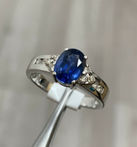 Sapphire Engagement Ring 18k White Gold Size O1/2 BHS - $958.01