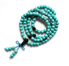 FREE SHIPPING - Tibetan Buddhism Natural Turquoise Meditation yoga 108 prayer be - $23.99