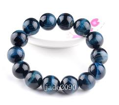 Free shupping - 15mm good luck AAA Natural Blue Tiger eye Meditation Yoga Natura - $26.99