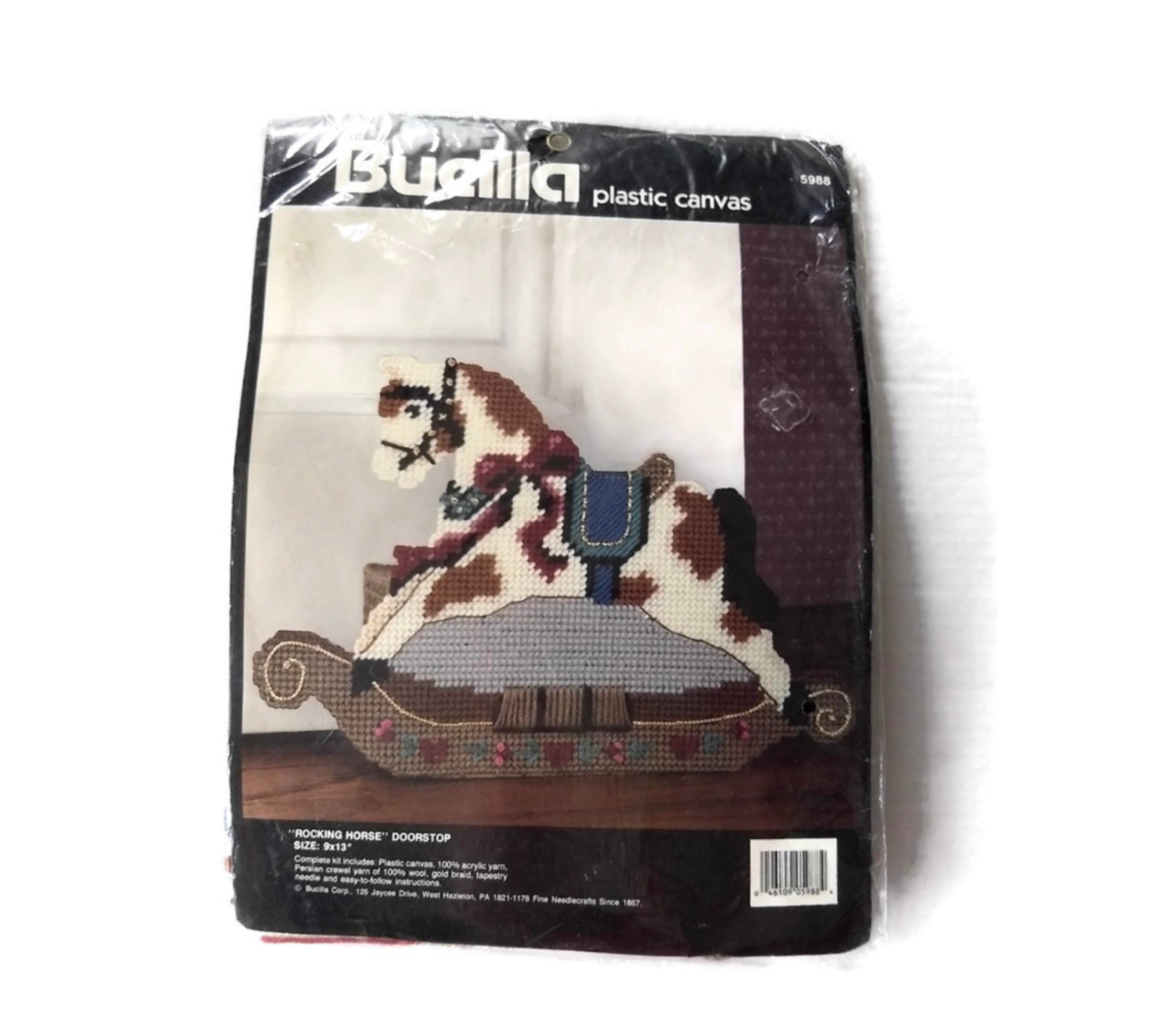 Primary image for Plastic Canvas Kit Bucilla Rocking Horse Door Stop Crafts Nursery Decor