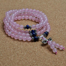 Free Shipping - Pink Chalcedony bracelet pink crystal beads bracelet 108... - $28.99