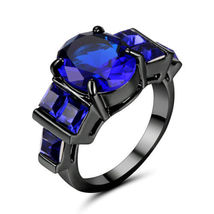 BLUE GEMS DARK FINISH RING  ** SIZE 7 **  #8880  >> COMBINED SHIPPING - $6.75