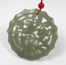 Free Shipping - Hand- carved Natural green jadeite jade Phoenix  charm jade Pend - $25.99