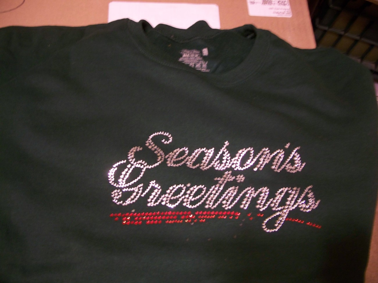 Primary image for NWOT Seasons greetings rhinestone christmas crewneck fleece FOL Forest XL