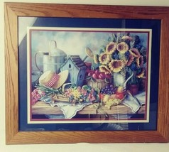 Home Interiors Picture Sunflowers Hat Birdhouse Fruit Sold Wood Frame  - $25.00
