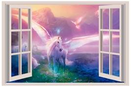Unicorn Fantasy Women 3D Window View Decal Graphic WALL STICKER Art Mural - $6.92+
