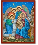 """And the Angels Were Amazed Icon - 4.5"""" x 6"""" Wooden Plaques With Lumina Gold - $39.95"""