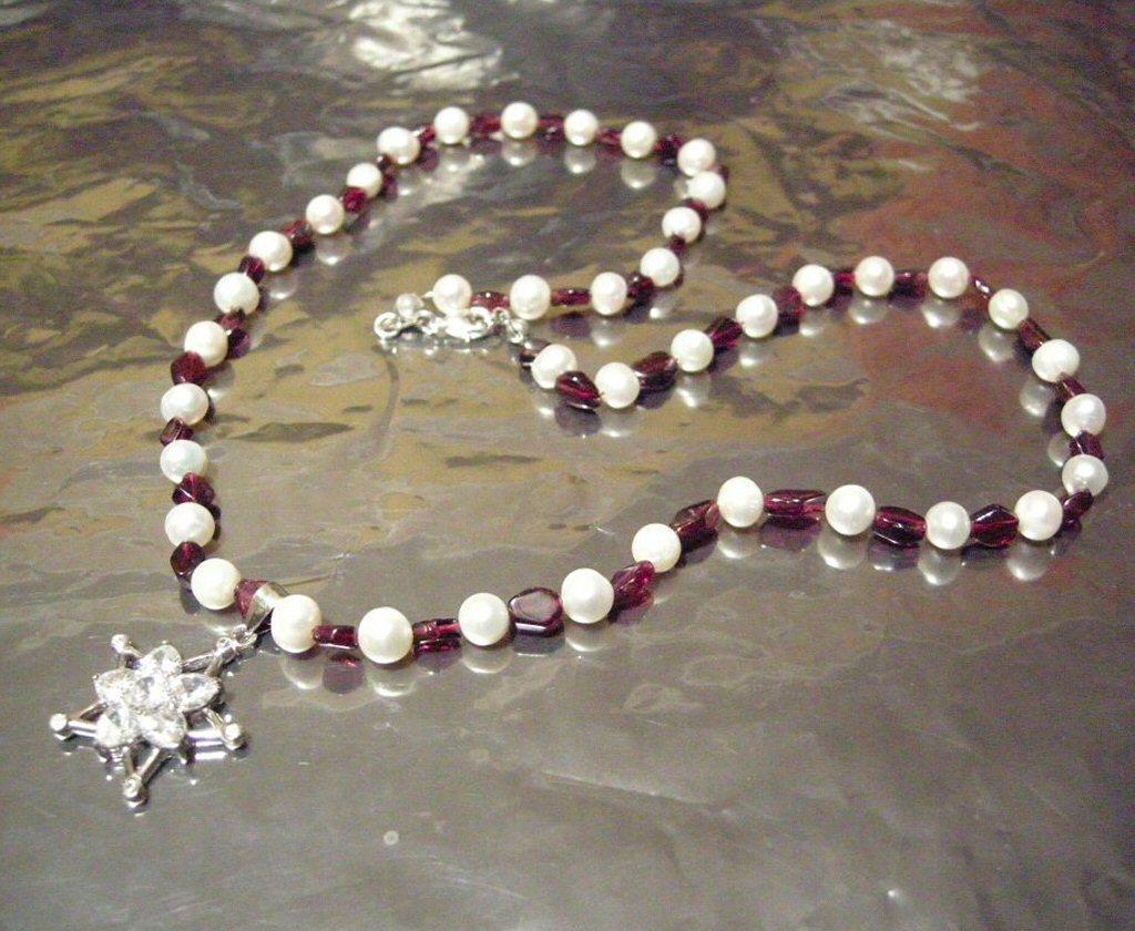Garnet  Wt Pearl Topaz Pendant Necklace New