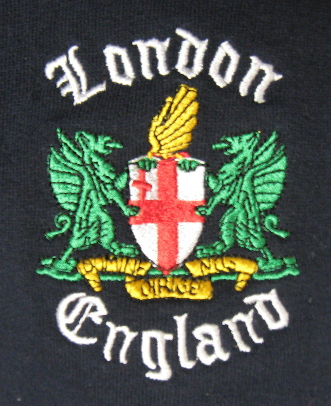 London England Souvenir Sweatshirt Navy Embroidered Medium