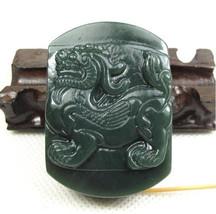 Free Shipping - Amulet Natural green jade Dragon Natural Green jadeite jade Carv - $25.99