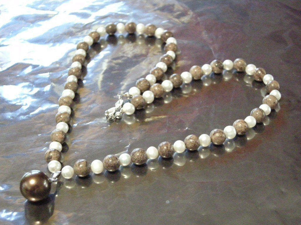 """Coco Jasper Pearl Pendant Necklace 20"""" New"""